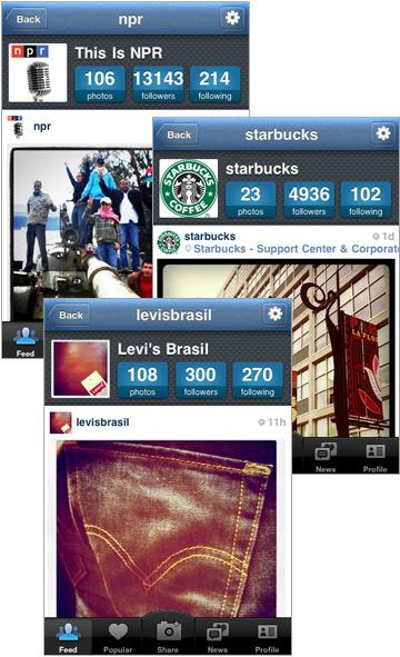 Instagram: NPR, Starbucks, Levi's Brazil