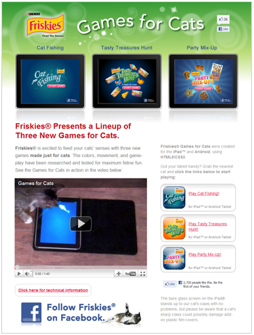 Friskies' iPad games for cats