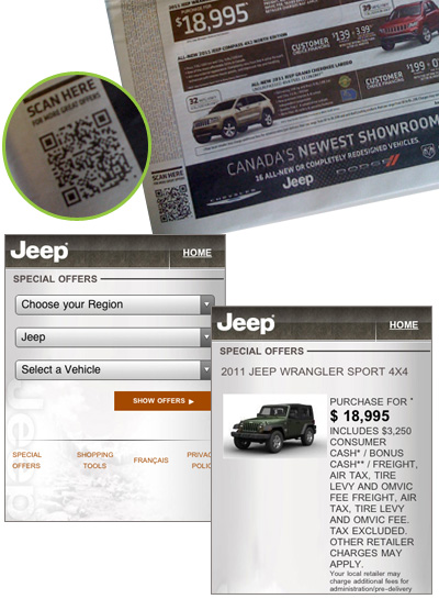 Jeep QR code connects readers to deals on mobile
