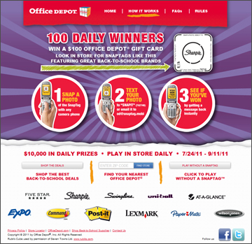 Office Depot - Back to School Contest uses InStore SnapTags