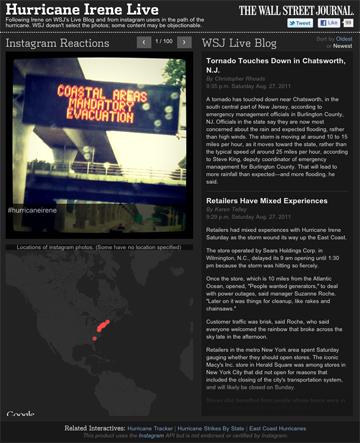 WSJ Live Blog - Hurricane Irene