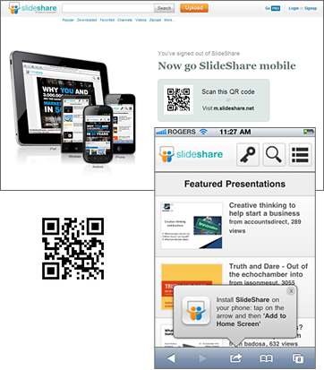Slideshare Uses QR Code to Connect Users to Mobile Site