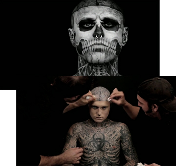 Zombie Boy covers up tattoos using Dermablend