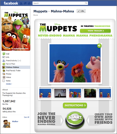 Muppets Neverending Mahna Mahna Facebook Application