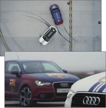 Audi Creates Artful Skid Marks to Celebrate El Derbi de Barcelona