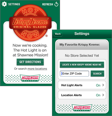 Krispy Kreme Hot Light Mobile App