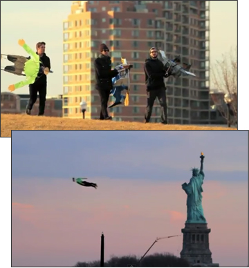 Flying people in New York City