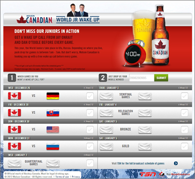 Molson Canadian World Jrs Wake-up Call