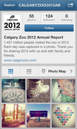 Calgary Zoo 2012 Annual Report on Instagram