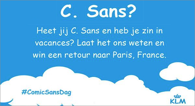 KLM - Comic Sans Day