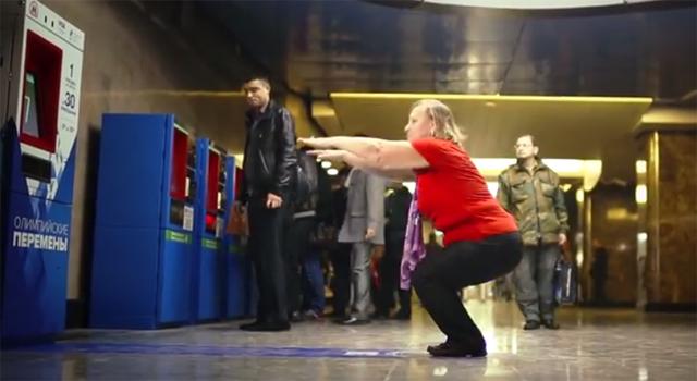 Sochi Olympics - Moscow Subway Squats